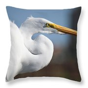 Great Egret Portrait Throw Pillow