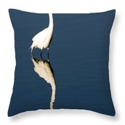 Great Egret Reflected Throw Pillow