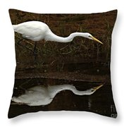 Great Egret Reflection 2 Throw Pillow
