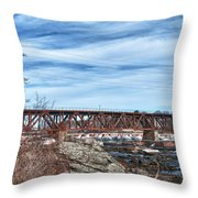 Great Falls Rr Bridge 10477c Throw Pillow