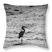 Great Grey Heron Silhouette Throw Pillow