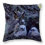 Great Horned Owl Twins Throw Pillow