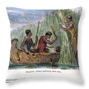 Great Lakes: Canoe, 19th C Throw Pillow