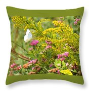Great Southern White Butterfly Likes The Pink Flowers Throw Pillow