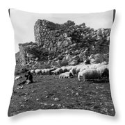 Great Tower Of Tiryns - Greece - Birthplace Of Hercules Throw Pillow