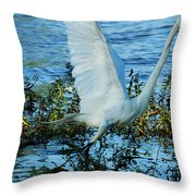 Great White And Blue Throw Pillow