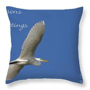 Great White Egret Holiday Card Throw Pillow