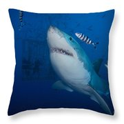 Great White Shark And Pilot Fish Throw Pillow
