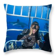 Great White Shark Behind Frightened Throw Pillow