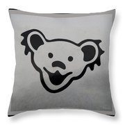 Greatful Dead Dancing Bear In Black And White Throw Pillow