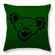 Greatful Dead Dancing Bear In Green Throw Pillow