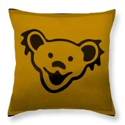 Greatful Dead Dancing Bear In Orange Throw Pillow