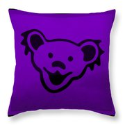 Greatful Dead Dancing Bear In Purple Throw Pillow