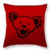 Greatful Dead Dancing Bear In Red Throw Pillow