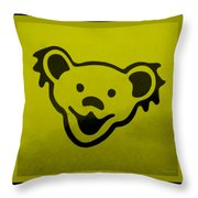 Greatful Dead Dancing Bear In Yellow Throw Pillow