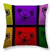 Greatful Dead Dancing Bears In Multi Colors Throw Pillow