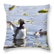 Grebe With Babies Throw Pillow