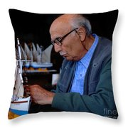 Greek Artist Mykonos Throw Pillow