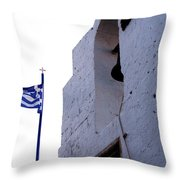 Greek Flag Flying Throw Pillow