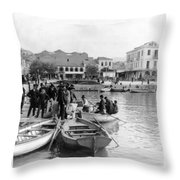 Greek Immigrants Fleeing Patras Greece - America Bound - C 1910 Throw Pillow
