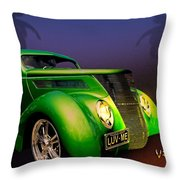 Green 37 Ford Hot Rod Decked Out For A Tropical Saint Patrick Day In South Texas Throw Pillow