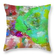 Green Abstract Rose Throw Pillow