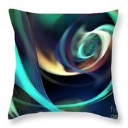 Green And Blue Lines Throw Pillow