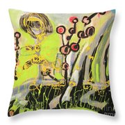 Green And Blue Weed Painting Throw Pillow