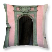 Green And Pink Doorway In Krakow Poland Throw Pillow