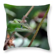 Green Anole Throw Pillow