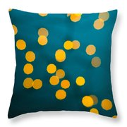 Green Background With Gold Dots  Throw Pillow