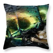 Green Blow Fly Throw Pillow