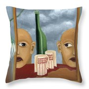Green Bottle Agony Surrealistic Artwork With Crying Heads Cut Cups Flowing Red Wine Or Blood Frame   Throw Pillow by Rachel Hershkovitz