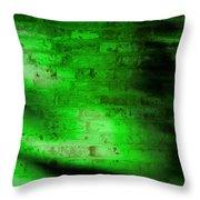 Green Brick Wall Throw Pillow