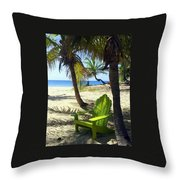 Green Chair On The Beach Throw Pillow