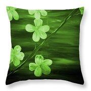 Green Cherry Blossom Throw Pillow