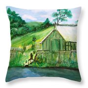 Green Cottage Throw Pillow