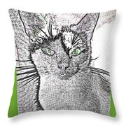Green Eyed Monster Throw Pillow