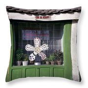 Green Facade With Buttons. Belgrade. Serbia Throw Pillow