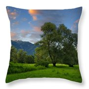 Green Field With Trees Throw Pillow