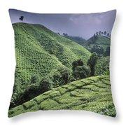 Green Fields On Hills Throw Pillow