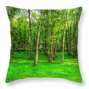Green Floored Forest Throw Pillow