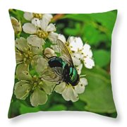 Green Fly Throw Pillow