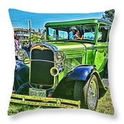 Green Ford Street Rod Hdr Throw Pillow