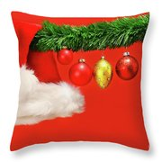 Green Garland With Santa Hat And Ornaments Throw Pillow
