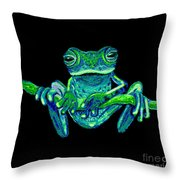 Green Ghost Frog Throw Pillow