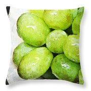 Green Grapes On A Plate Throw Pillow
