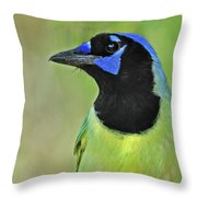 Green Jay Portrait Throw Pillow