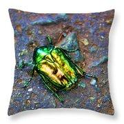 Green Junebug Throw Pillow