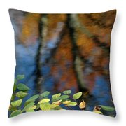 Green Leaves And Autumn Reflection Throw Pillow